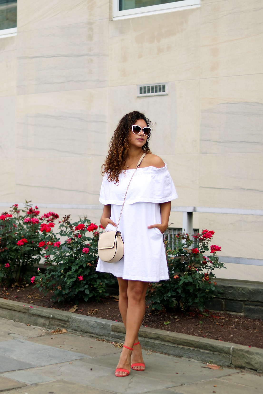 A White Affair: Little White Off-The-Shoulder Dress