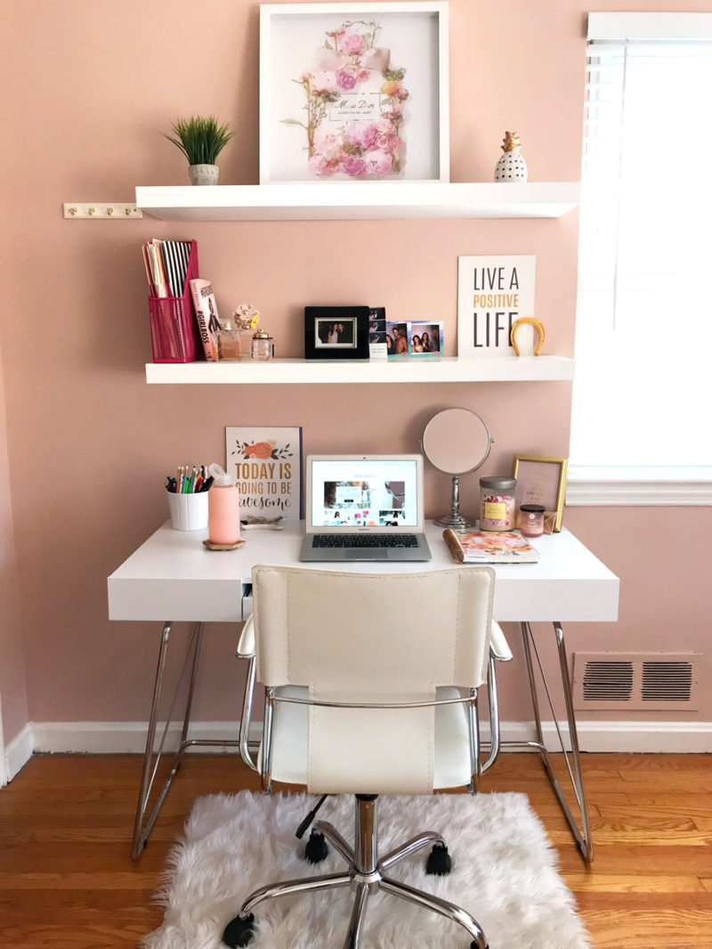 creating office space. I Love White And Blush Knew Those Would Be The Colors Of My Desk Area. Since Walls Are Already A Blush/mauve Color, Decided To Get Creating Office Space